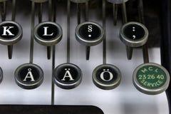 在一台老打字机的外国信件 免版税库存照片