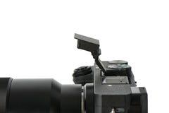 在一台mirrorless照相机的突然出现falsh 免版税图库摄影