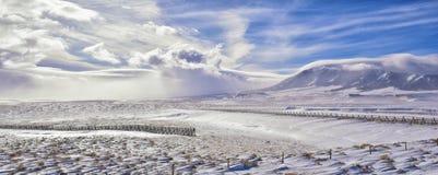 在一场飞雪期间的怀俄明乡下全景与与积雪的山与阴云密布灰色多云天空 免版税图库摄影
