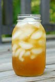 在一块冷淡的玻璃的被冰的茶 免版税图库摄影