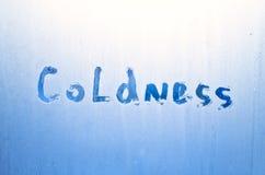 在一块冻玻璃书面寒冷 库存照片