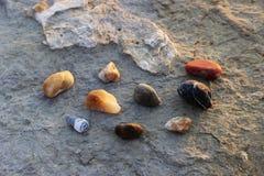 在一块大石头的背景的一些块小石头在黑海的岸的 库存照片