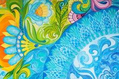 在一块帆布的抽象图画油漆与花饰 库存照片