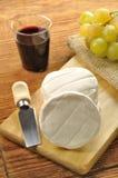 在一块木砧板的意大利tomino干酪 免版税库存照片