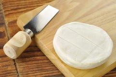 在一块木砧板的意大利tomino干酪 库存照片