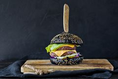 在一块木砧板的黑汉堡包 侧视图,黑背景,文本的空间 库存照片