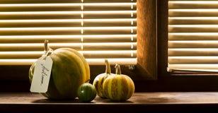 在一块木窗口基石的南瓜 库存图片