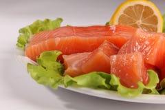 在一块板材的三文鱼用沙拉和柠檬 免版税图库摄影