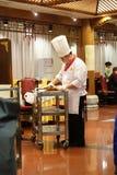 在一块板材的切口鸭子在原始的全聚德餐馆在北京 库存照片