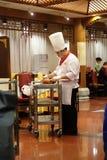 在一块板材的切口鸭子在原始的全聚德餐馆在北京 图库摄影
