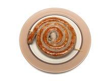 在一块板材的开胃烤香肠在白色背景 免版税库存照片