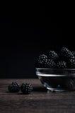 在一块板材的新鲜的成熟水多的黑莓在黑背景 免版税库存图片