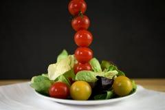 在一块板材的新鲜的明亮的夏天沙拉用在一条高垂直线的微型蕃茄 图库摄影