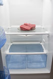在一块板材的新鲜的牛肉,在一个空的冰箱 库存照片