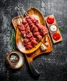 在一块板材的未加工的牛肉kebab用不同的调味汁、大蒜和香料在碗 库存图片