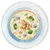 在一块板材的水彩奶油色汤用多士、蘑菇和增殖比 向量例证