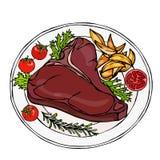 在一块板材的烤或油煎的上等腰肉牛排有土豆楔子、蕃茄和草本的 牛排晚餐 准备好膳食 牛排餐厅肉R 免版税库存图片