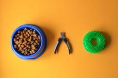 在一块板材的狗食有爪剪刀和玩具的 免版税库存图片