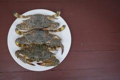 在一块板材的青蟹,在木背景 免版税图库摄影