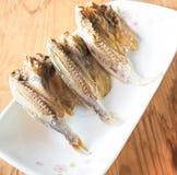 在一块板材的Marinated咸鱼在木背景 免版税库存图片