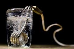 在一块玻璃的热化水在芥末以后 brewin老方法  库存图片
