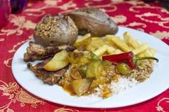 在一块白色板材的土耳其晚餐 免版税库存图片