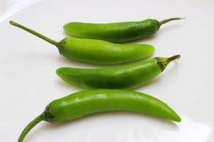 在一块白色板材的墨西哥热的辣辣椒成份 免版税库存图片