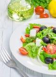 在一块白色板材的希腊沙拉 免版税库存图片