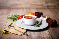 在一块白色板材的开胃乌克兰传统罗宋汤在与菜的老桌上在木背景 免版税库存照片