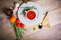 在一块白色板材的开胃乌克兰传统罗宋汤在与菜的老桌上在木背景 免版税图库摄影