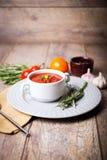 在一块白色板材的开胃乌克兰传统罗宋汤在与菜的老桌上在木背景 库存照片