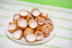 在一块白色板材的很多蛋壳 免版税库存照片