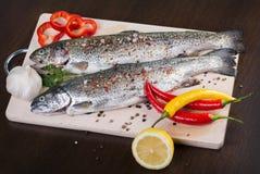 在一块白色板材的新鲜的鳟鱼有海盐、辣椒粉、辣椒、大蒜和柠檬的 图库摄影