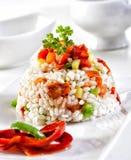 在一块白色板材的米开胃菜 库存照片