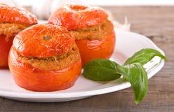 在一块白色板材的西红柿原料 图库摄影