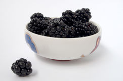 在一块白色板材的黑莓 库存照片