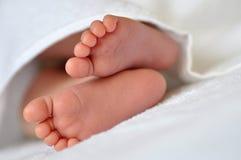 在一块白色毛巾的婴孩脚 免版税图库摄影