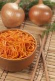 在一块竹餐巾的韩国沙拉 库存照片