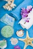 在一块蓝色毛巾的温泉治疗 库存照片