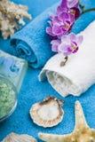 在一块蓝色毛巾的温泉治疗 免版税库存图片