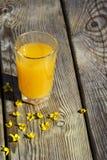 在一块透明玻璃的新鲜的橙汁 库存图片
