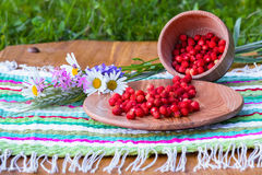 在一块镶边餐巾在美丽的花附近站立野草莓 免版税库存图片