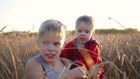 在一块麦田的儿童立场 两个孩子笑和微笑 在新鲜空气的步行 股票录像