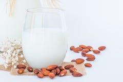 在一块玻璃和一个投手的杏仁牛奶有在marb的杏仁种子的 免版税库存图片