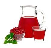 在一块玻璃和一个蒸馏瓶的红浆果饮料用莓果无核小葡萄干 库存照片