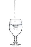 在一块玻璃的倾吐的淡水在白色 库存图片