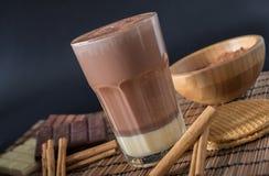 在一块玻璃的可口热巧克力用桂香 库存照片
