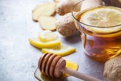 在一块玻璃的姜茶流感冷的冬日 图库摄影
