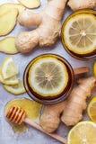 在一块玻璃的姜茶流感冷的冬日 免版税库存图片