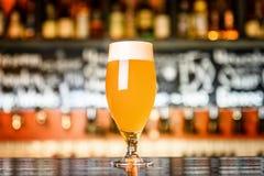 在一块玻璃的未过滤的啤酒在酒吧 库存图片